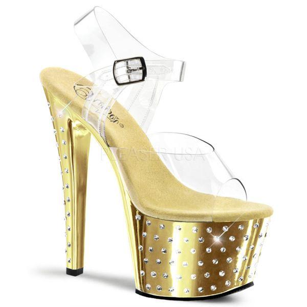 Sandalette gold verchromt und mit zahlreichen Strass-Steinen STARDUST-708